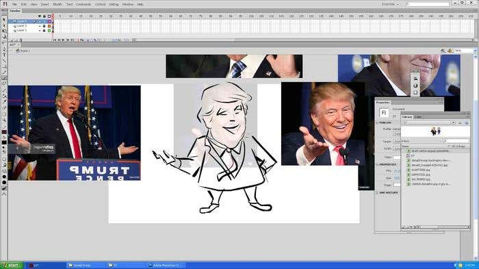 Step 5 of how to draw a caricature - drawing the body of your Donald Trump caricature