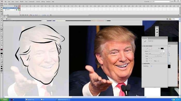 Step 4 of how to draw a caricature - tracing the face of your Donald Trump caricature