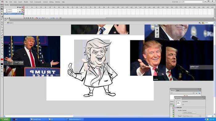 Step 7 of how to draw a caricature - cleaning up the lines of your Donald Trump caricature