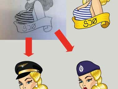 3 Pn Up illustration from sketch
