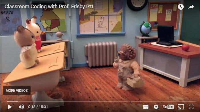 Screencap from Classroom Coding with Prof. Frisby