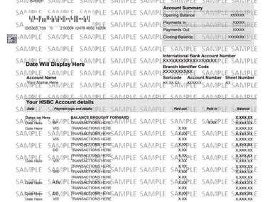 Sample of an HSBC fake bank statement front and back. Although similar in design, it diverse in some graphic details depending of the country and region of origin.