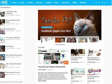 We design and develop Petgunlugu.com website with custom WordPress theme. This is animal blogging site.