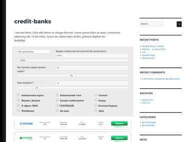 WP Plugin Credit banks  The plugin outputs on a site using shortcode a live search form, where we specify parameters and below output bank list appropriates these parameters.  Admin page In Admin Wordpress adding a separated page where adds banks. The form below output list added banks.  Front page  Outputs using shortcode search form. There each bank has an affiliate link. The link is hidden. When the user clicks on button register she going to page where leads affiliate link.  How this work Just change a parameter on form and appears below banks list appreciate parameters. Also, exists shortcode with parameters for bank adding a button to any post or page. Main shortcode which outputs search form also has parameters where we specify beginning data for them.
