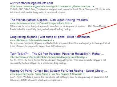 Drag racing oil pans  rank #7 in google.com