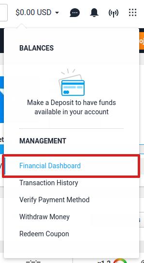 Finances drop-down menu