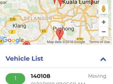 Google Maps & Web Service (for data transactions) This project main 6 screen Loginscreen,dashboard,livemap,historymap,CriticalAlerts,otheralerts  main purpose for application tack vehicle only