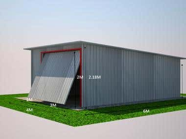 Metal Sheet Garage with 2 perspective view as per the client expects.