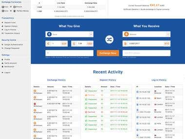 Dashboard created for a crypto exchange portal