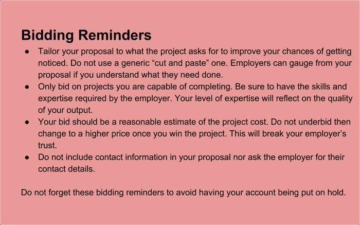 Bidding Reminders