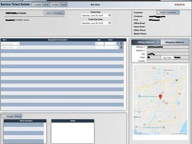 Built for the client from an approved scope of work a POS system with the following modules: Scheduling, Employee management, Client Invoicing, Inventory tracking, Client service tickets with GPS mapping. This system is usable both in store and on mobile devices.