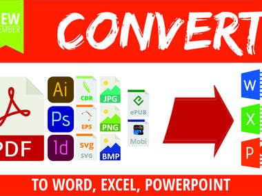 I will convert and format your PDF, Corel Draw, InDesing, Photoshop, Scanned image (JPEG, BMP, PNG, TIFF), ePub, or Kindle file into a Word, Excel or PowerPoint document  I will convert, quickly and efficiently, any: Adobe Acrobat (pdf) Corel draw (cdr) InDesing (indd, indb) Illustrator (ai, eps, svg) Photoshop (psd) Scanned image (JPEG, BMP, PNG, TIFF) ePub or Kindle file (mobi, azw, kfx)  You will get: Formatted document of your choice (doc, docx, xlsx, pptx, odt) that looks like your document; Page design, same as in the original document: Text Style, Headings, margins, spacing, indents, bold & italic text, page breaks;  Images that are displayed correctly (modified if needed); Clickable links (if you have any).