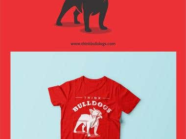 A logo and t-shirt conceptualization for an online company, Think Bulldogs.