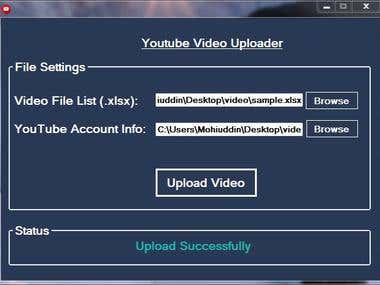 This is  desktop software that will automatically upload 1000 of  videos to Youtube at a time. Software input are an excel (.xlsx) file with all the data (video location on drive, title, description etc.) It's a simple software with high performances