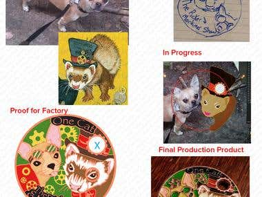 This client asked about designing a steampunk ferret and chihuahua coin. She presented me with several ideas she liked and even a photo of her own Chihuahua. I sketched a out a primary design. Worked on proofs. This shows the progress from ideas and photos to the final product.