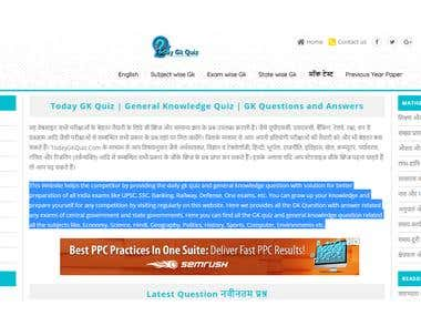 This Website helps the competitor by providing the daily gk quiz and general knowledge question with solution for better preparation of all India exams like UPSC, SSC, Banking, Railway, Defense, One exams, etc. You can grow up your knowledge and prepare yourself for any competition by visiting regularly on this website. Here we provides all the GK Question with answer related any exams of central government and state governments, Here you can find all the GK quiz and general knowledge question related all the subjects like, Economy, Science, Hindi, Geography, Politics, History, Sports, Computer, Environments etc.
