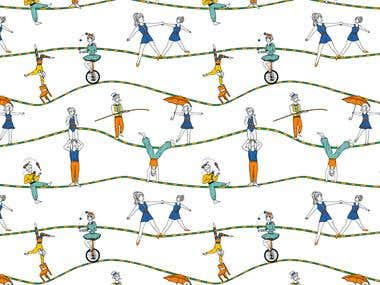Through different concepts, I've been able to design and illustrate different patterns that can be applied to textiles as well as many other surfaces. I've always liked to create stories through my patterns, so that the viewers can create theirs too. I'd also like to add, that all the lineart, and spots used on these patterns are handdrawn. I only add the colors and organize the composition digitally.