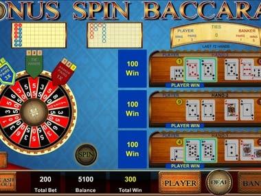 Baccarat casino game with bonus spin