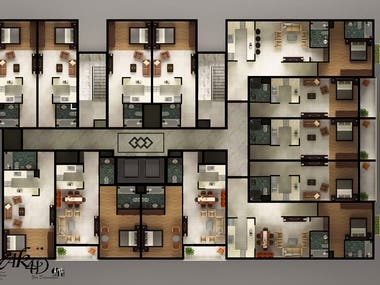 3D and 2D  Floor plan  for Tower