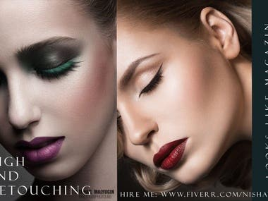 I provide best quality and high end retouched image that you would like. With a few years in retouching, I will work with you to guarantee your best quality result. You can be sure that I pay attention to details, to quality and I alway try to do my best to make our cooperation with you work great.   I am a photo retoucher that specializing in different types of photo retouching such as: stock images, lifestyle pictures, family portraits, beauty images, editorial retouch, and fashion retouching.   What will you get: Pimples, scars and blemishes removal  Skin smoothing with preserving texture  Retouch hair, lips, teeth, and eyes  Correction of figure and face shape  Color corrections  Removing dust particles, spots, scratches  Removal of unwanted objects, persons, background