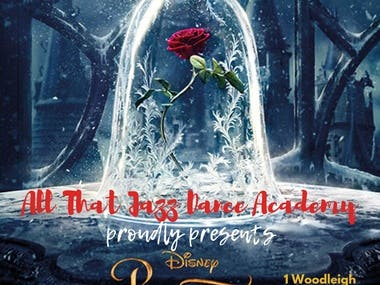 This is a poster for a dance audition with beauty and the beast theme.