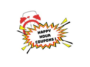 A logo for happy hour coupon