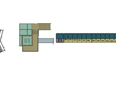 this is design of the plant for thermal process in the wire manufacturing. in this 24 wire line works simultaneous. That has a left and right operational direction. It include take off, heating unit, cooling unit, coiler unit , winder unit. I design this plant as a OEM. This plant are now fitted in well known wire manufacturing company.