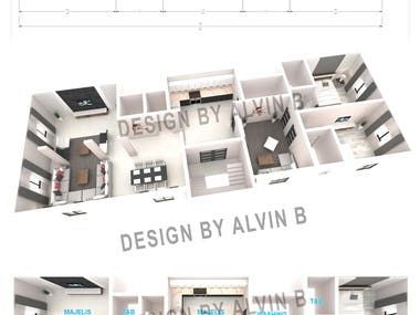 Once of hundreds 3D floor plan project i made for a client in Saudi Arabia, this was start in a sketch and floor plan, then visualize by colored 3D, to make it more presentable.