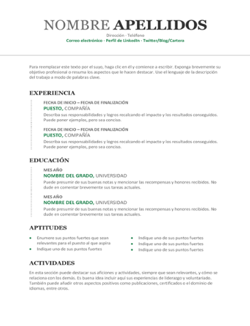 Traditional Resume Style Draft for the sake of layout. Photo can be added ATS friendly Complete Editable Design in MS Word and PDF file Spanish and English content