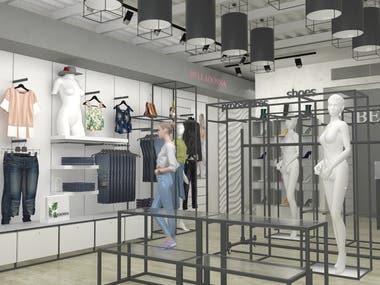 INTERIOR DESIGN OF CLOTHING STORE