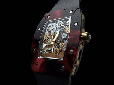 Creative and abstract watch creations, moddeling,  texturing and rendering.