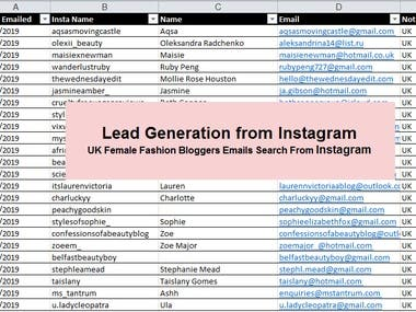 Lead Generation from Instagram  UK Female Fashion Bloggers Emails Search From Instagram