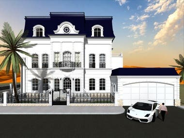 A villa project which is being built in the United Arab Emirates, the architect of which I am. The house was completely assembled by me in the program of the ArchiCAD, and accordingly the visualization was done on the program Artlantis.