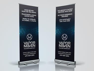 Banner Designs for Vapor Maven created for a tradeshow environment.