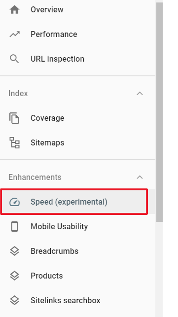 google search console speed tab