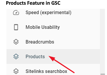 google search console products tab