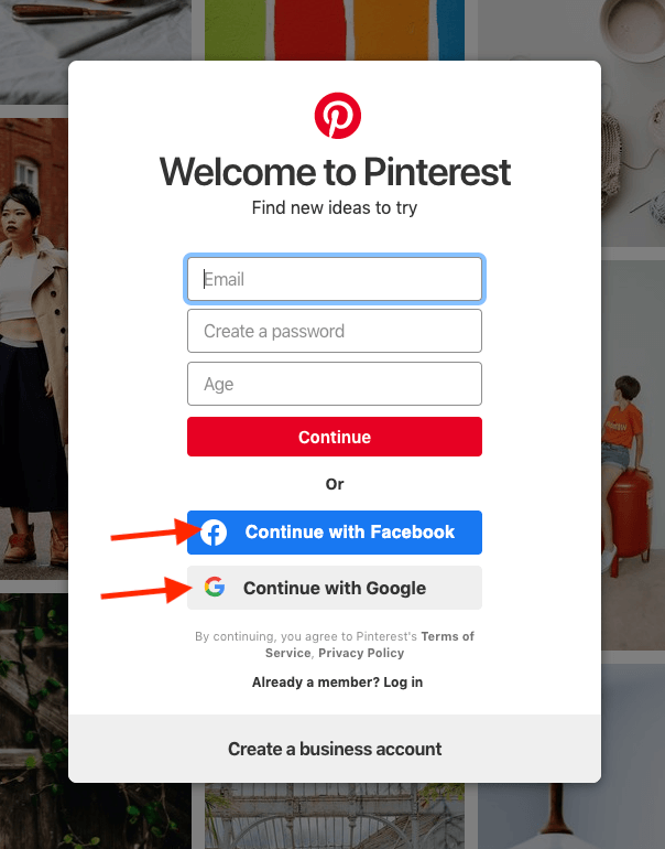 pinterest social login example