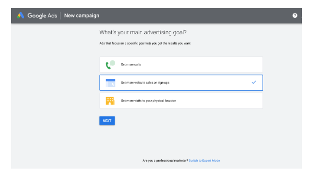 google ads manager new ad goal