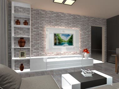 Apartment for a young couple. The interior was developed in the program ArchiCAD, which can be completely transferred to 3D max and sketchup, visualization was made in the program Artlantis. Furniture and author's design, fully designed from scratch. Made all the necessary drawings for the manufacture of furniture, and the design of all rooms.