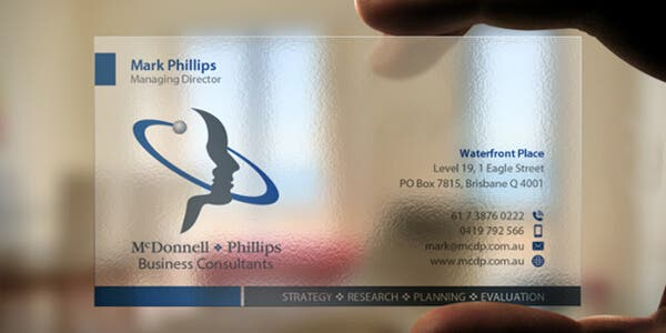 Transparent design for modern business card