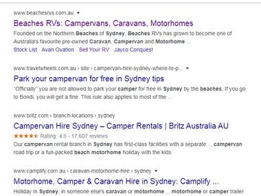 Client's goal was getting quality traffic and Leads. I worked on a lot quality keywords and made website visibility better, hence providing better leads and conversions.  Some top ranking keywords are:Beaches Motorhomes, Sydney Beaches RVs, beaches rvs belmont, beaches rv newcastle.